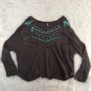 Free People color yarn thermal waffle knit sweater